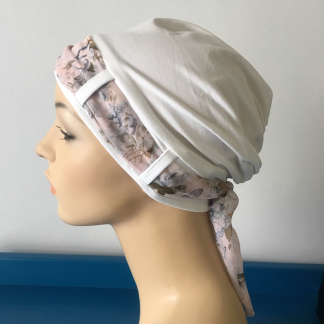 Ivory Turban with Vintage scarf