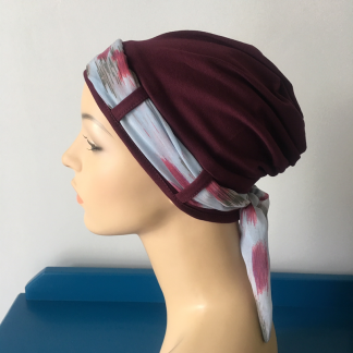Burgundy Landa Turban with Watercolour scarf