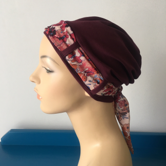 Burgundy Land Turban with Cranberry scarf
