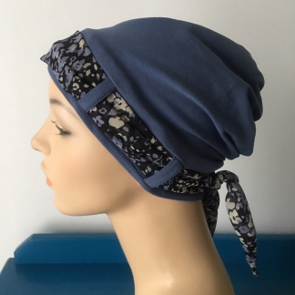 Denim Landa Turban with Purple and Blue Floral scarf