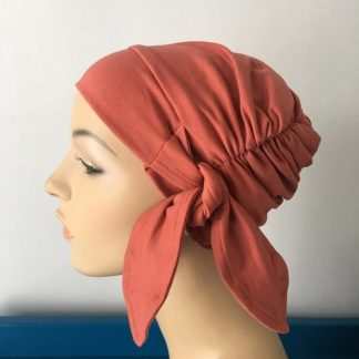 Rust Mihla Hat. Gypsy Headscarf for cancer patient. Chemo hat. Cancer hat. Chemo headwear. Side view.