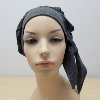 Charcoal modern beret. Cancer hat, chemo hat, cancer headwear, chemo headwear