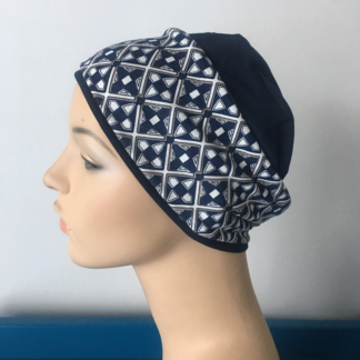 Navy Sleep Cap - Navy Geometric print headband