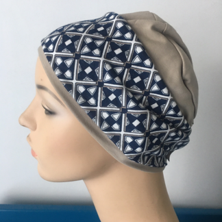 Stone Sleep Cap - Navy Geometric print headband