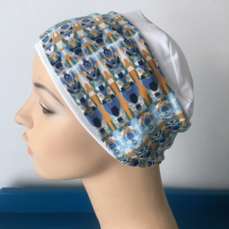 White Sleep Cap - Blue and Gold headband